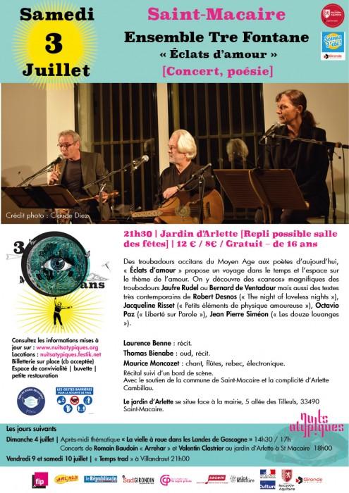 Nuits Atypiques 3 juillet Saint-Macaire - Ensemble Tre Fontane