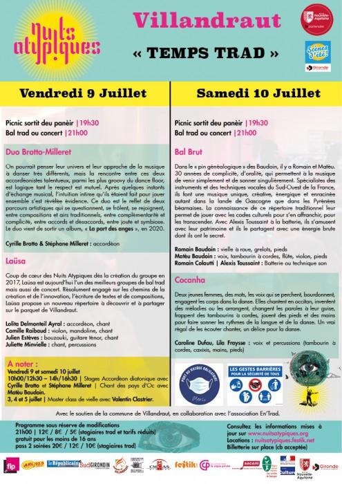 Nuits Atypiques 9 et 10 juillet - Trad à Villandraut